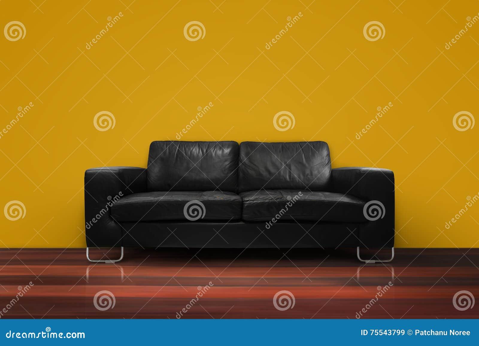 Sofá Negro Con El Muro De Cemento De Madera Del Piso En Sala De ...