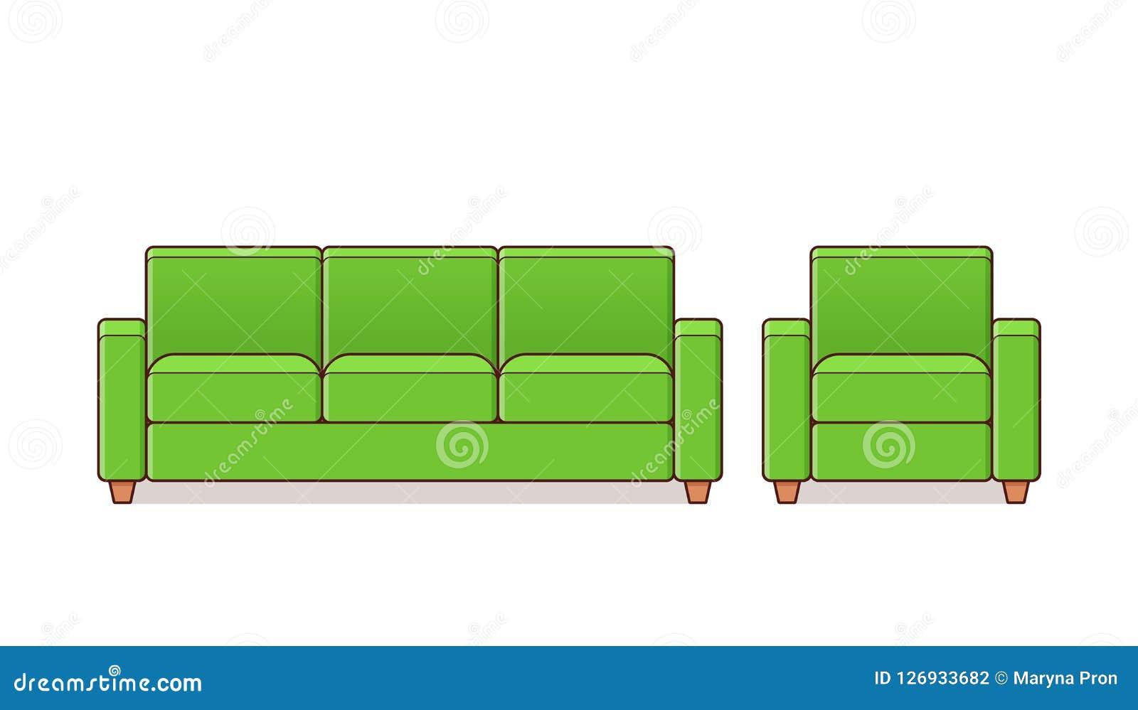 Sofá, poltrona, ícone do sofá Ilustração do esboço do vetor