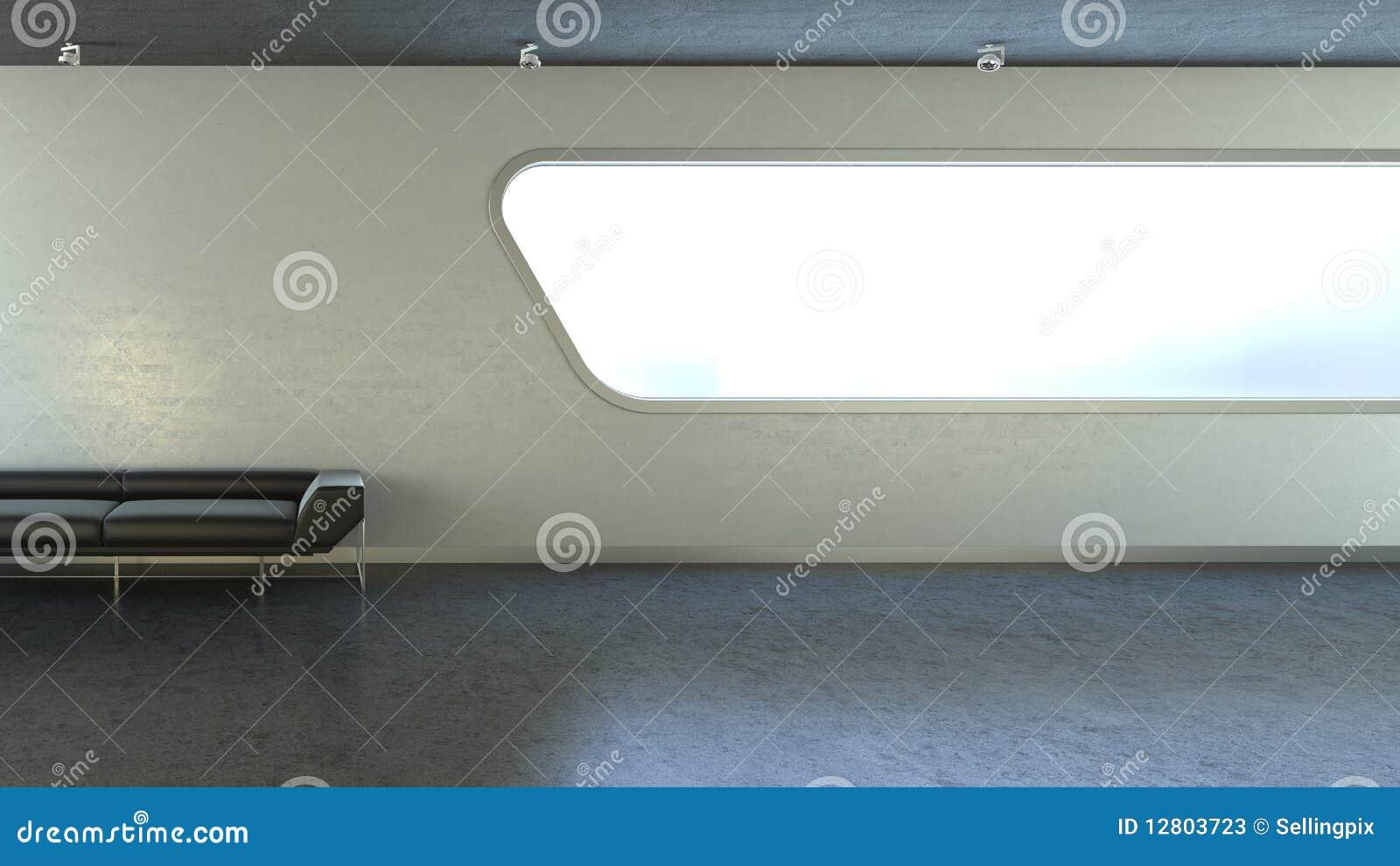 Sofá preto no copyspace do indicador da parede do interrior