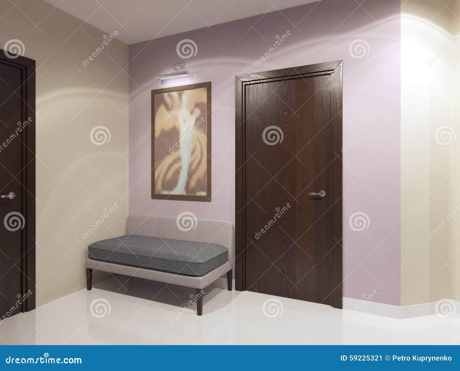 Sofá suave en pasillo