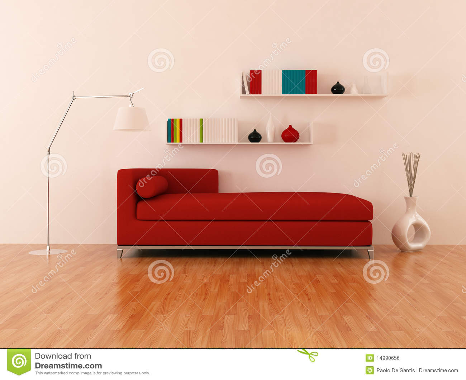 Sof Vermelho Na Sala De Estar Moderna Ilustra O Stock Ilustra O  -> Papel De Parede Para Sala Com Sofa Vermelho
