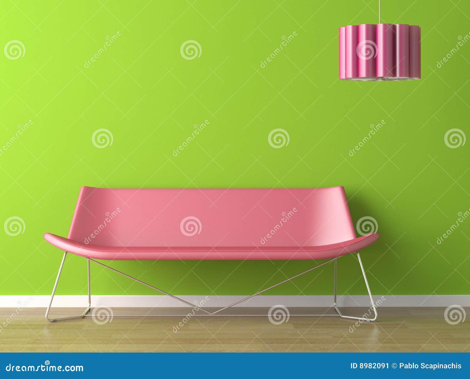 Sofá y lámpara del fuxia de la pared del verde del diseño interior