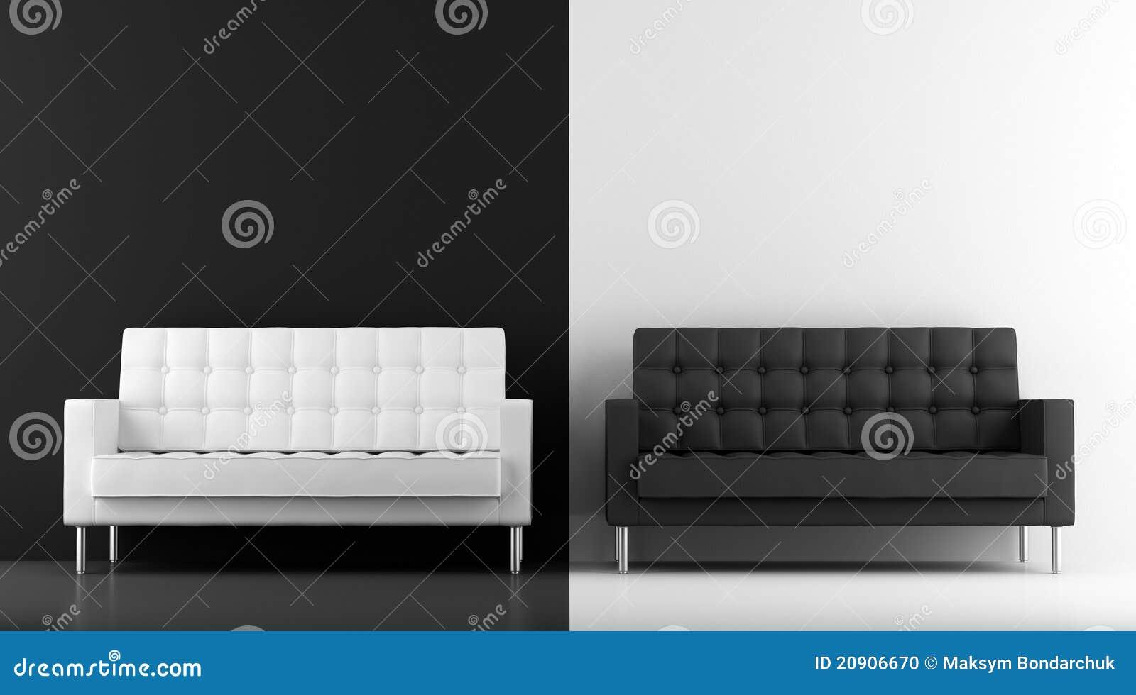 sofs blancos y negros - Sofas Negros