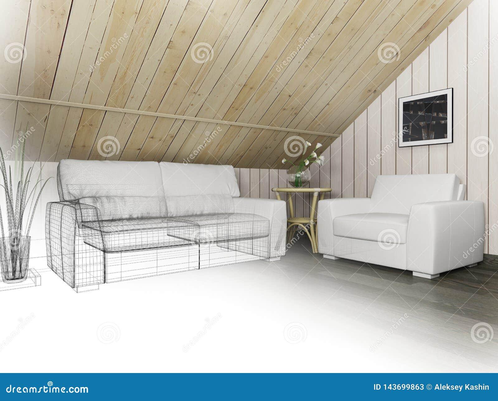 Sof? branco no revestimento escuro e na parede de madeira, rendi??o 3d