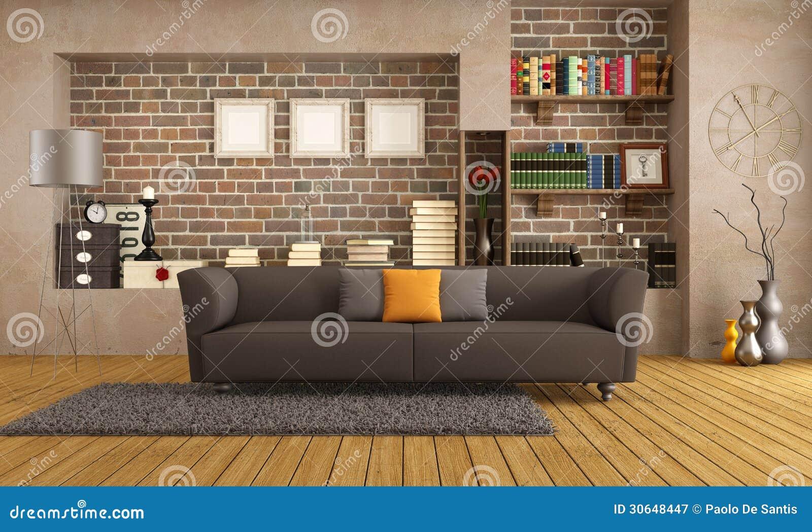 Sof moderno en una sala de estar del vintage fotograf a for Sala de estar retro vintage