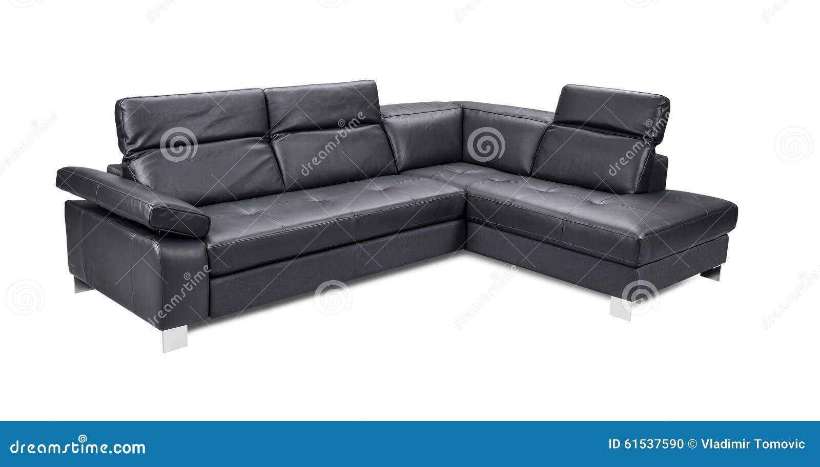 Sof negro de la esquina de cuero de lujo aislado en el - Sofa cuero negro ...