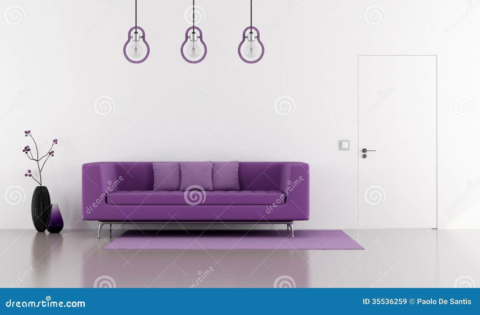 Sala De Estar Sofa Roxo ~ Imagens de Stock Royalty Free Sofá roxo em uma sala de estar branca