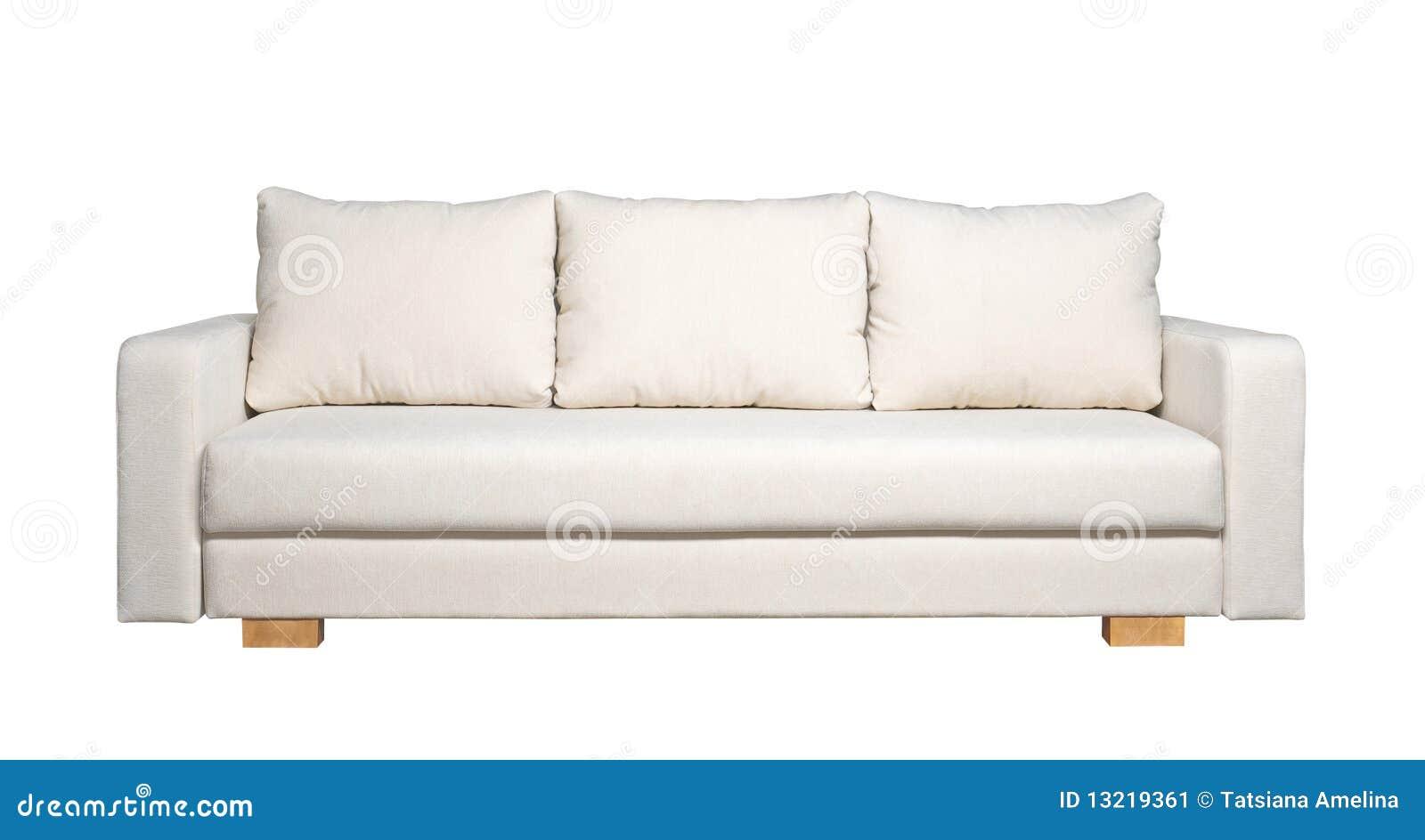 Sofa avec le capitonnage blanc de tissu (vue de face)