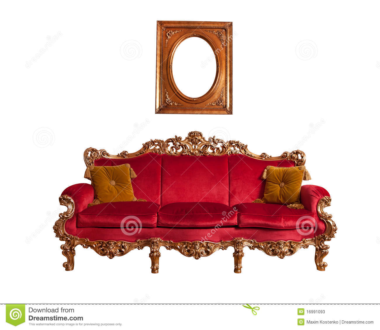 Sofa baroque rouge