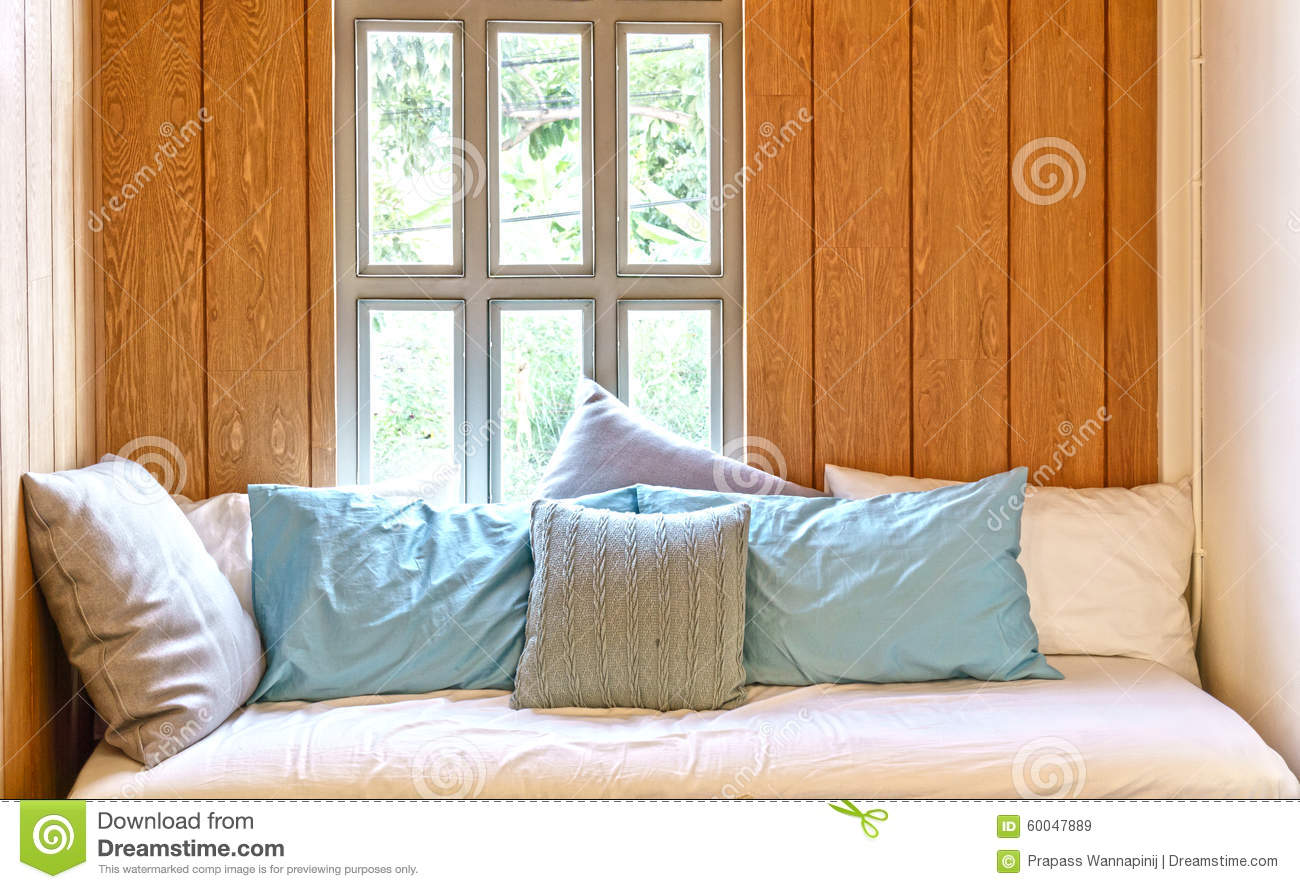 Wondrous Sofa Bed In Wooden Cottage Style Room Stock Image Image Of Customarchery Wood Chair Design Ideas Customarcherynet