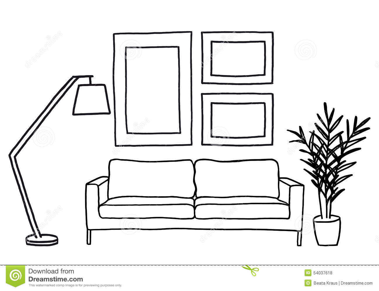 Line Drawing Software Free Download : Interior with white couch and picture frames royalty free