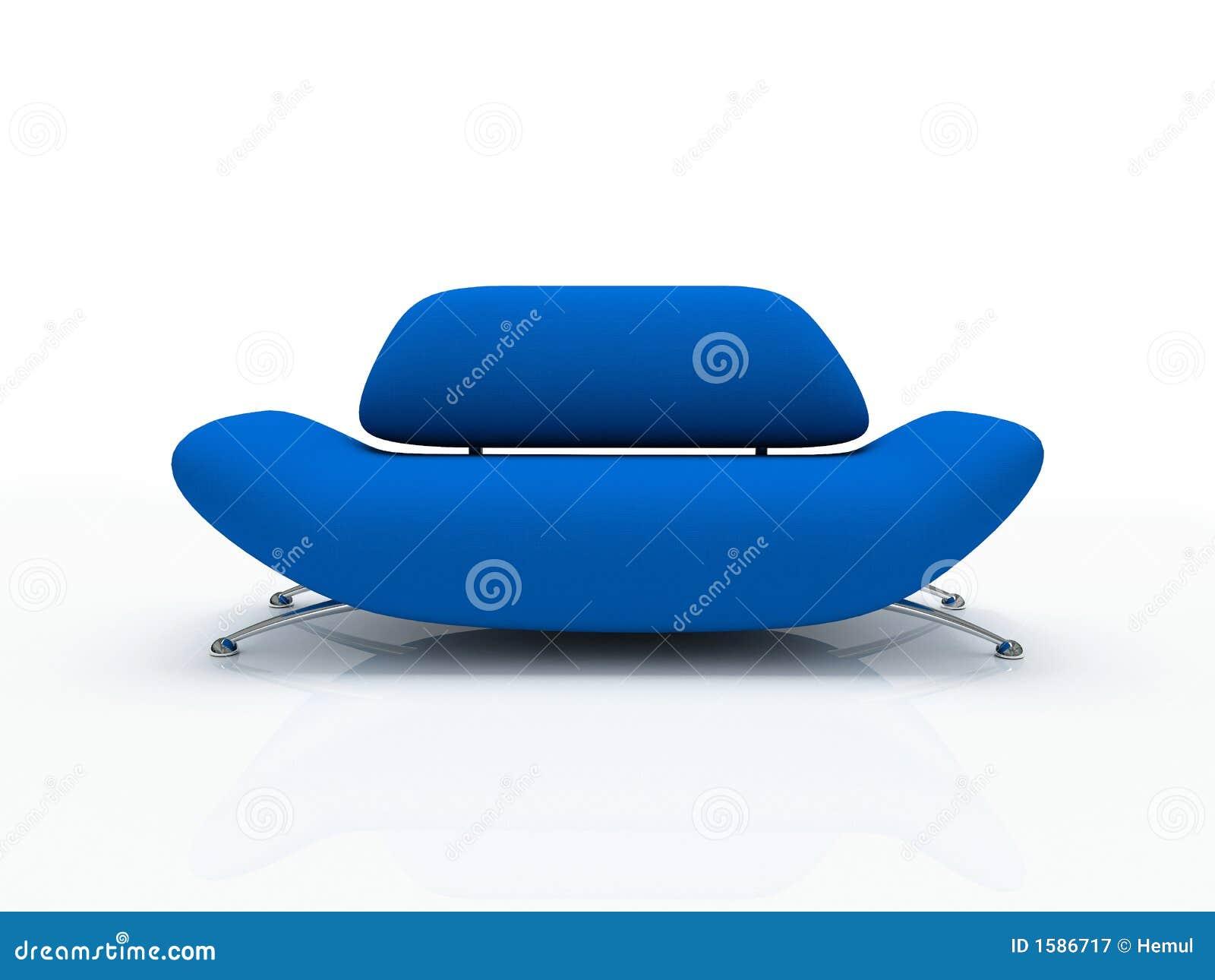 Sofa bleu sur le fond blanc isolé