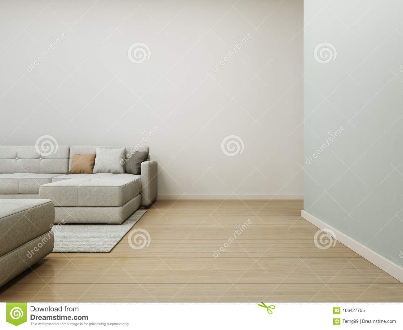 Sofa And Carpet On Wooden Floor With Empty White Concrete Wall ...