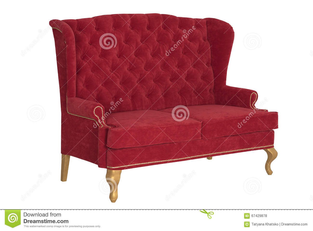 Sofa Chesterfield From A Red Velvet Stock Photo Image Of Gold