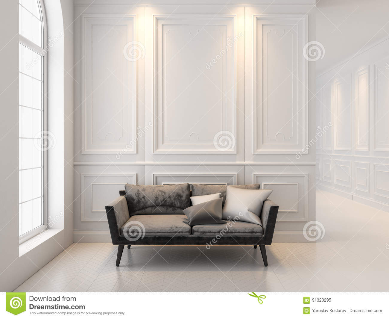 Download Sofa In Classic White Interior. 3D Render Interior Mock Up. Stock  Image
