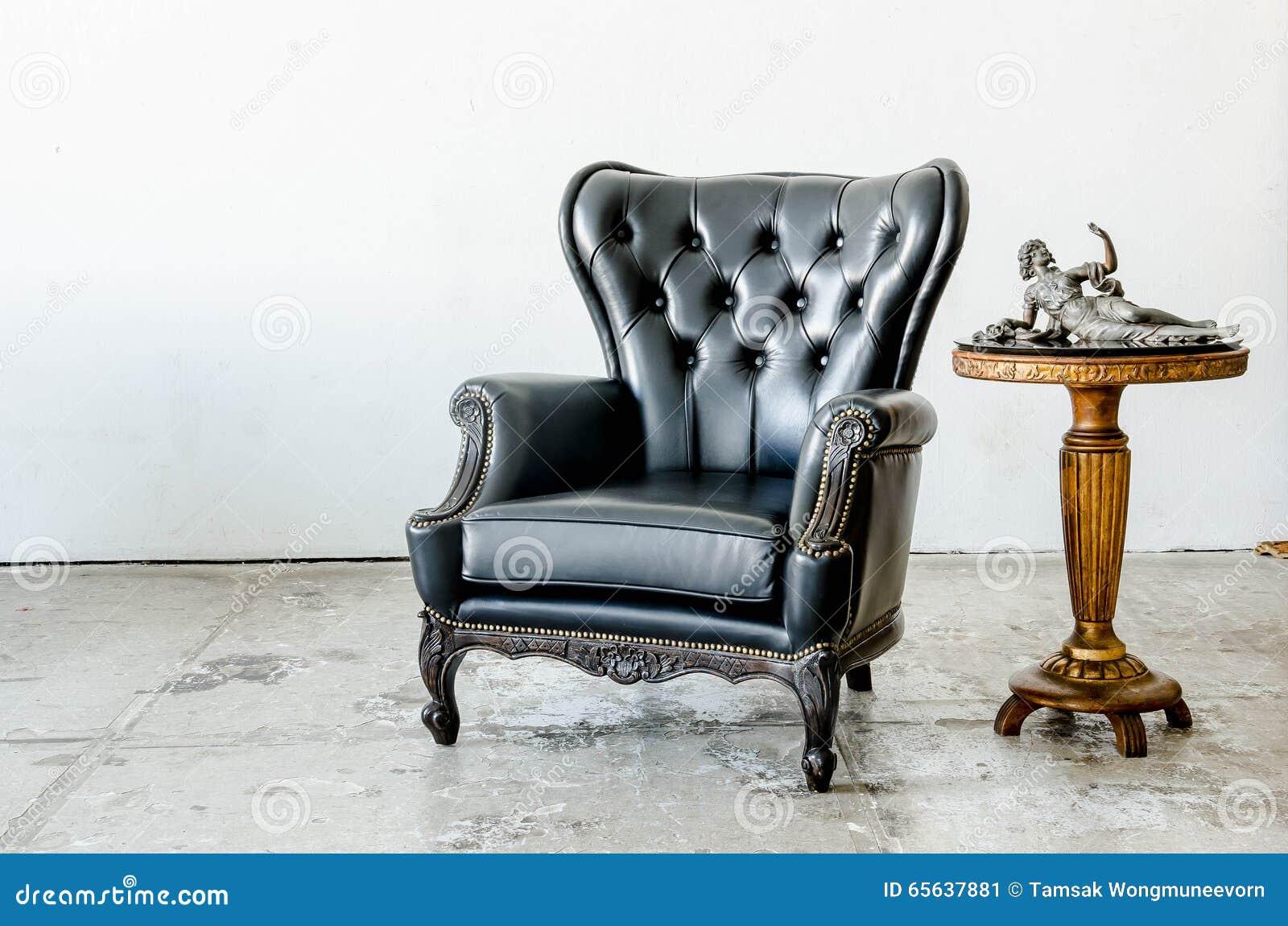 Sofa classique noir de style de cuir véritable