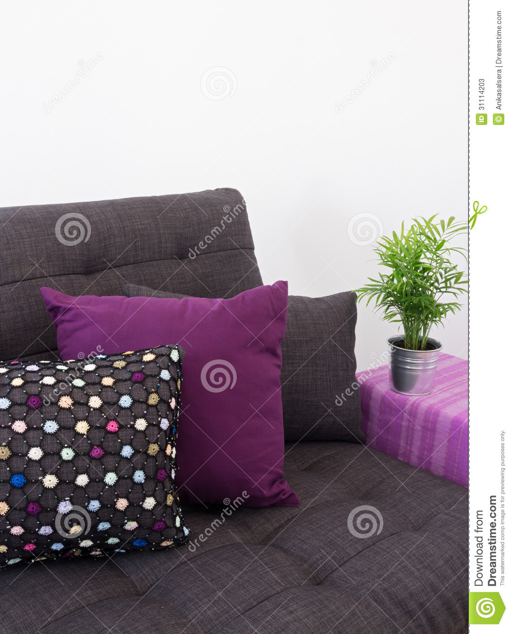 Sofa with colorful cushions and green plant stock photos for Sofa table for plants