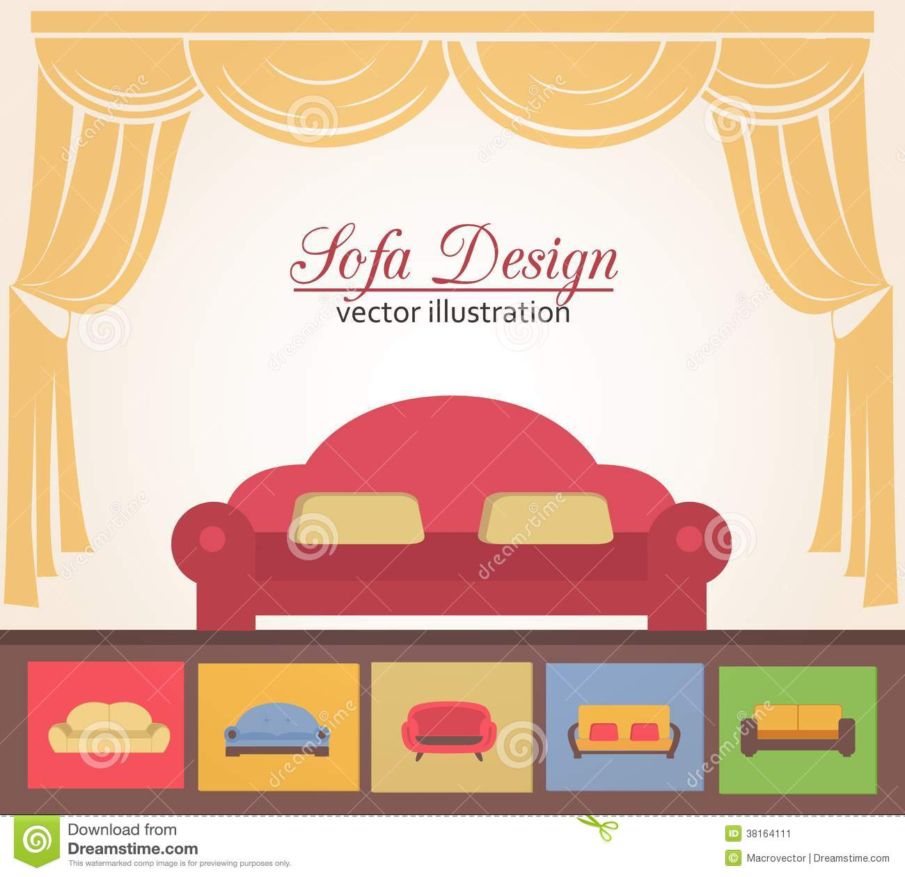 Poster design elements - Advertising Brochure Couch Design Illustration Poster