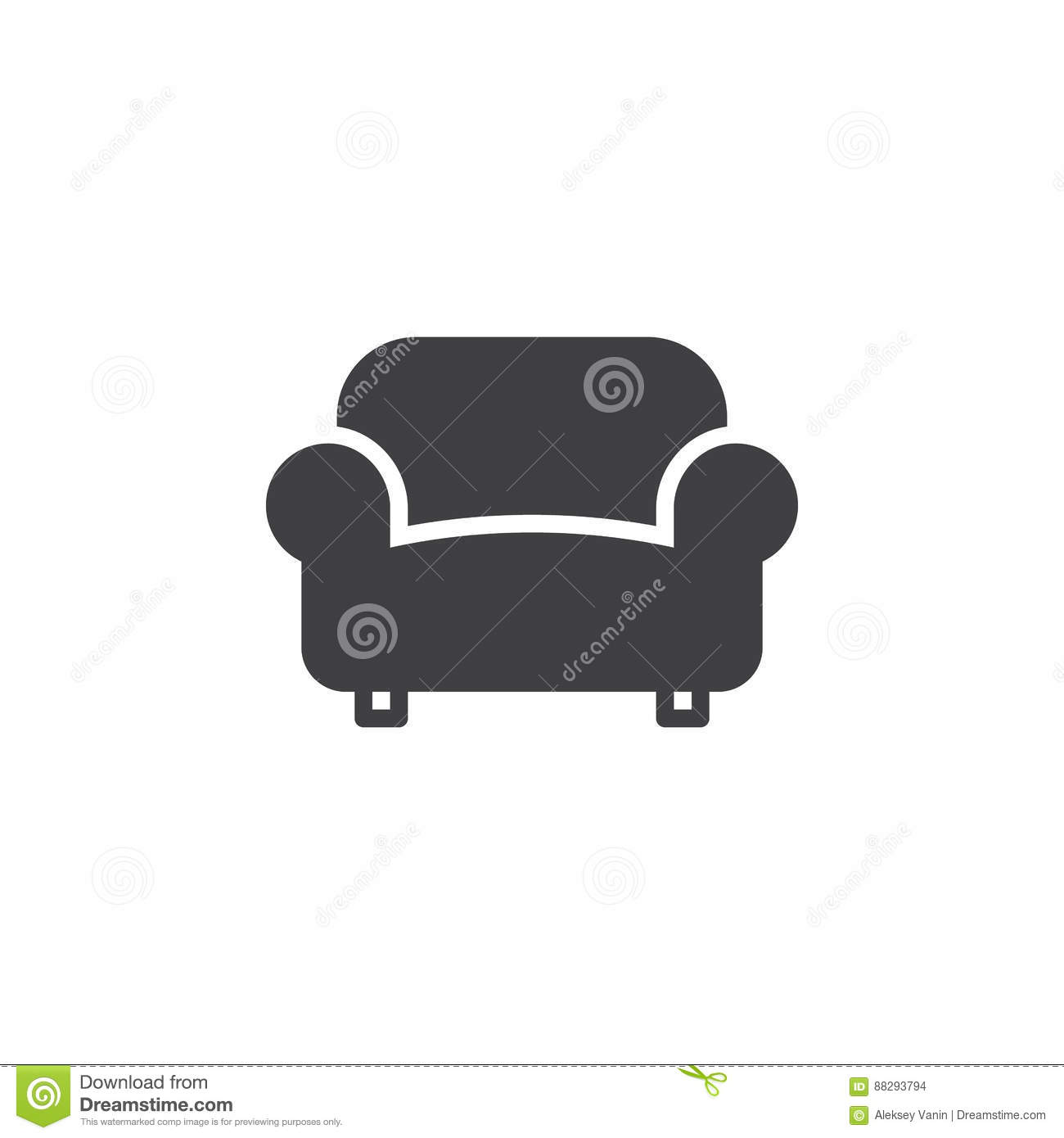 Sofa Couch Icon Vector Filled Flat Sign Stock Vector