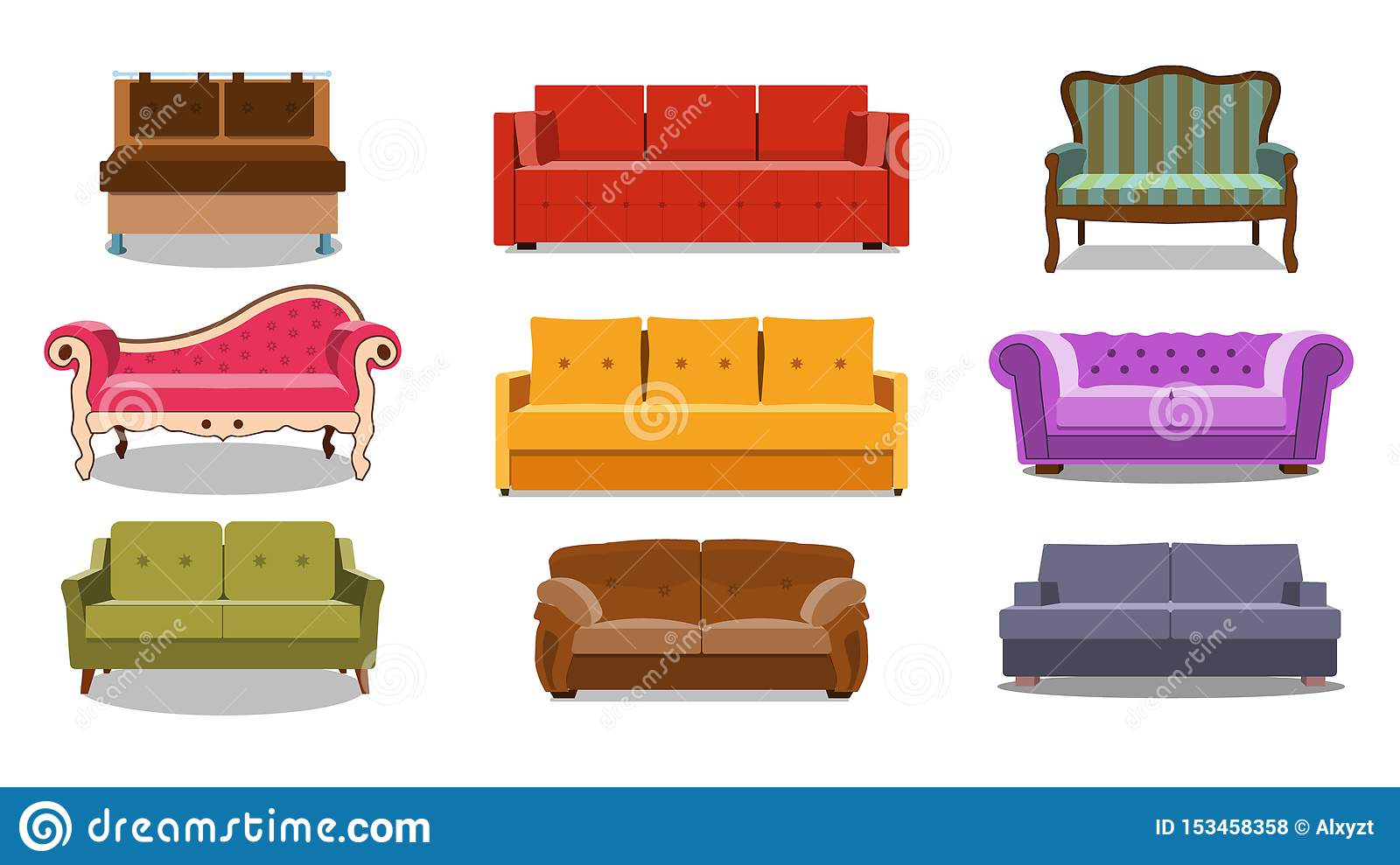Sofa And Couches Colorful Cartoon Illustration Vector Set
