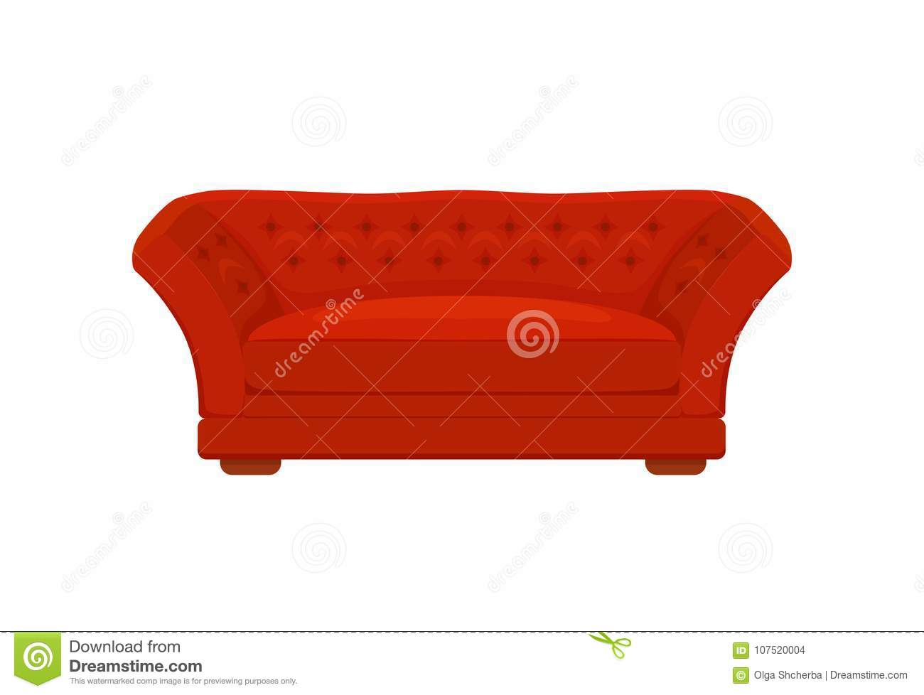 Sofa And Couches Red Colorful Cartoon Illustration Stock Vector