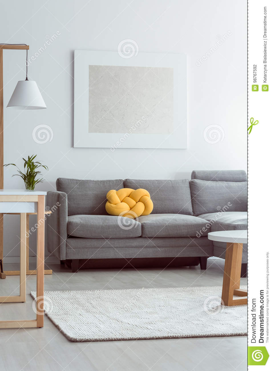 Sofa in cozy living room stock photo. Image of living - 98767592