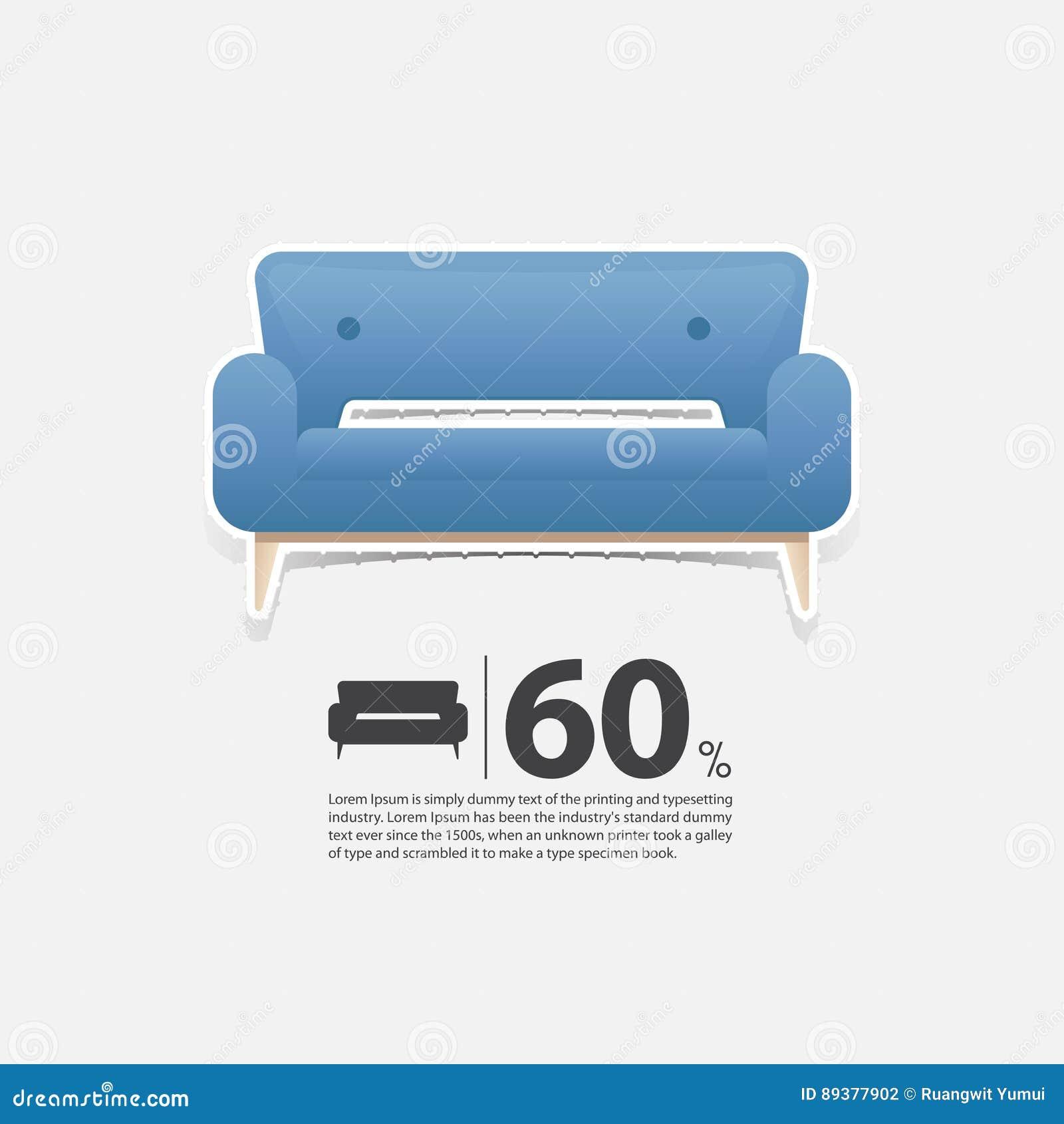 Sofa Dans La Conception Plate Pour L Interieur De Salon Icone