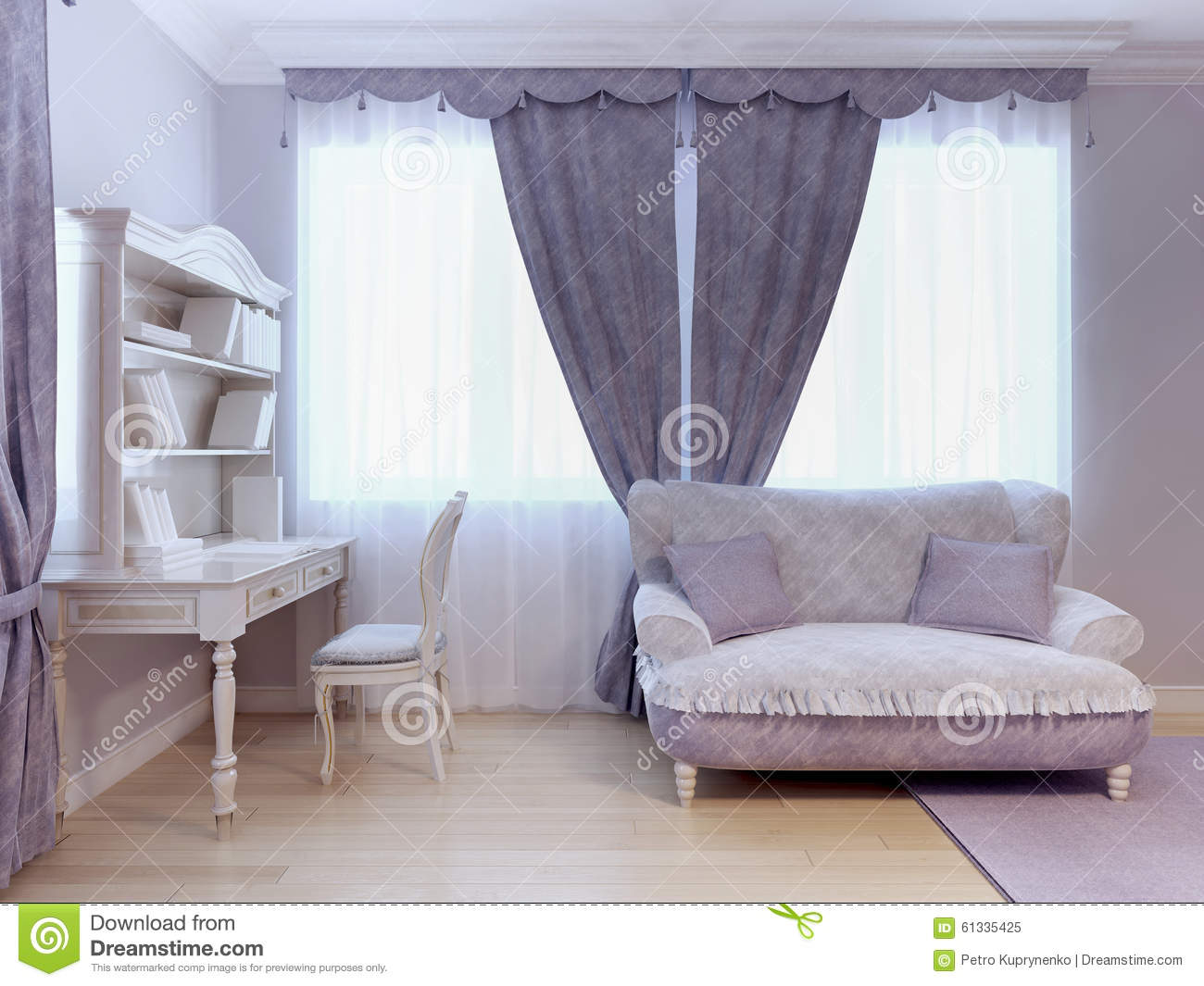 sofa and desk in bedroom stock illustration image 61335425. Black Bedroom Furniture Sets. Home Design Ideas