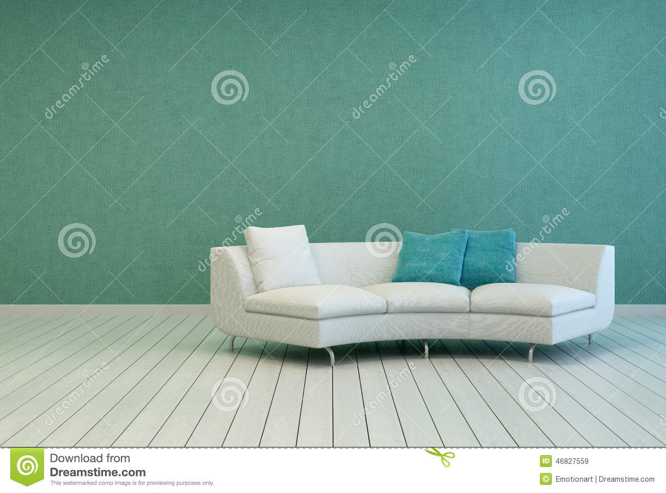 Living room with wood floor teal wall - Sofa On Empty Living Room With Gray Green Wall Royalty Free Stock Images