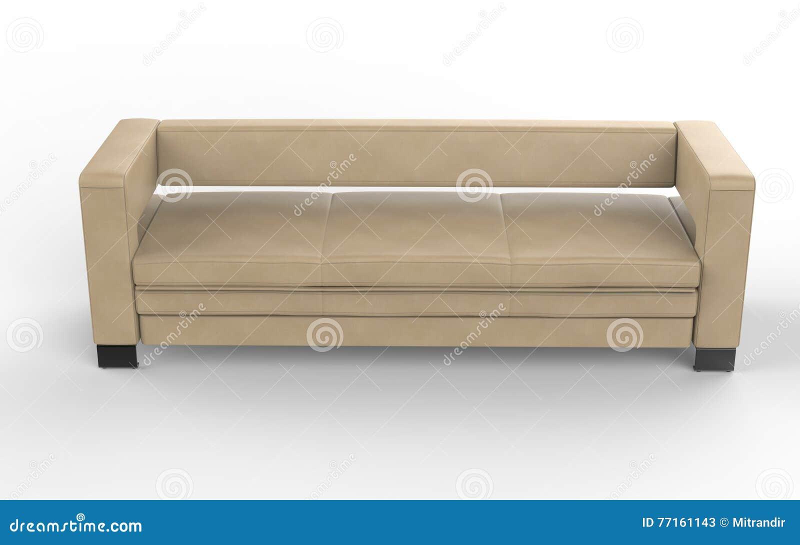 Sofa en cuir beige moderne