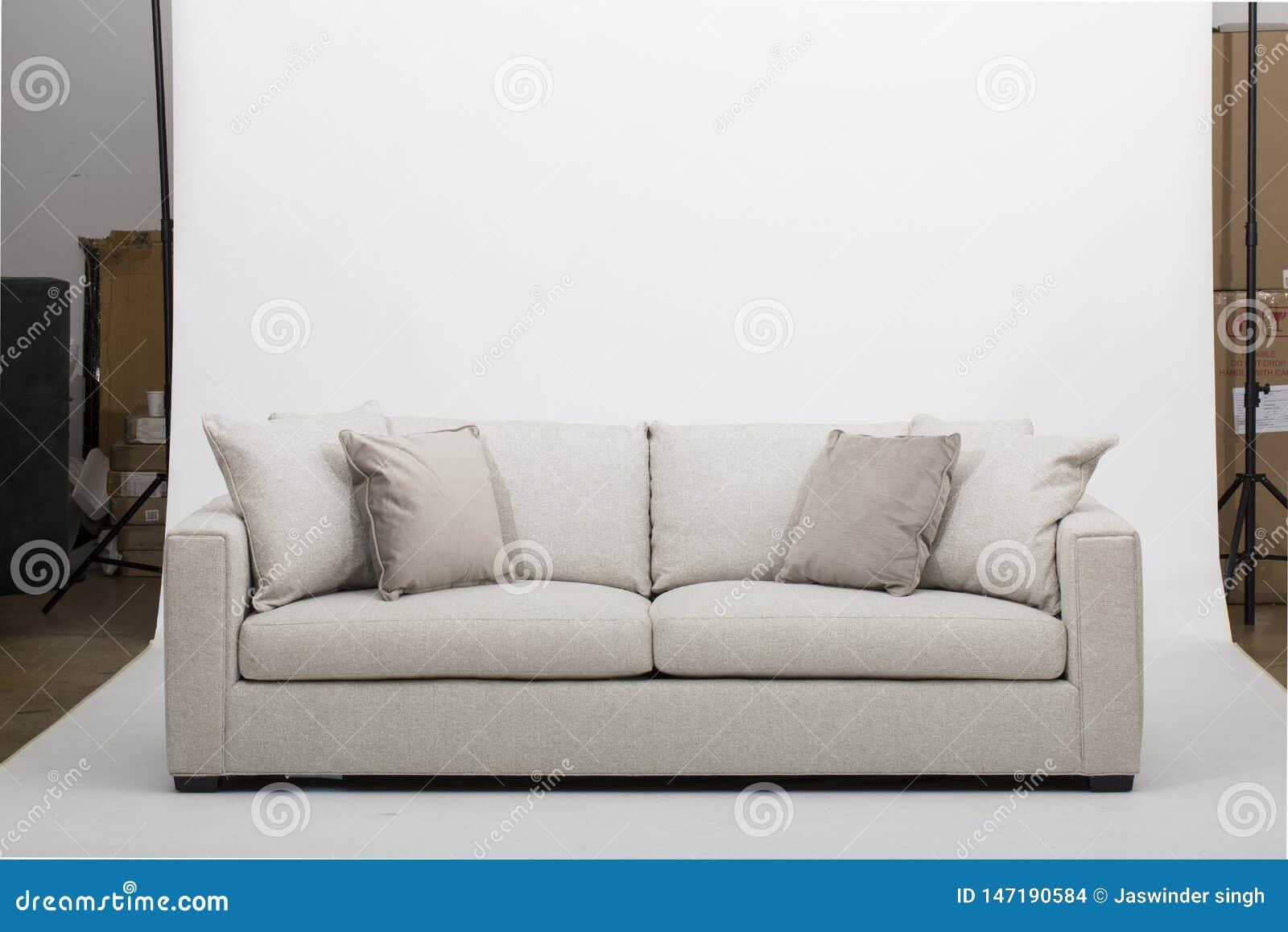 Sofa en cuir confortable de si?ges, sofa moderne de 2 seater dans le tissu gris-clair, 2-Seat sofa, sofa de coussin de plume,