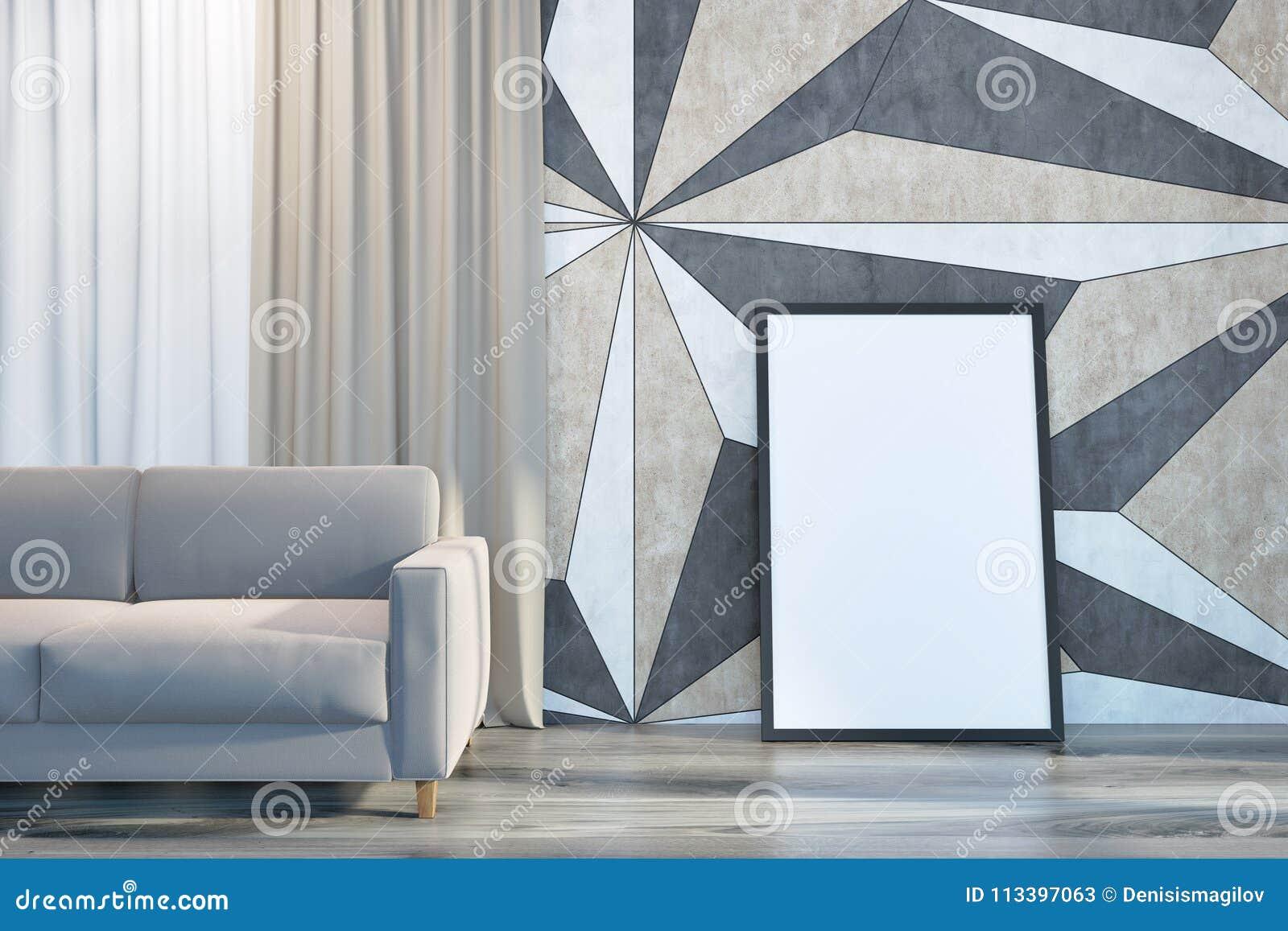 Sofa Et Affiche Géométriques De Salon De Modèle De Mur Illustration ...