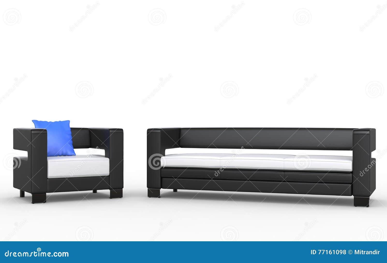 Sofa et fauteuil noirs et blancs modernes