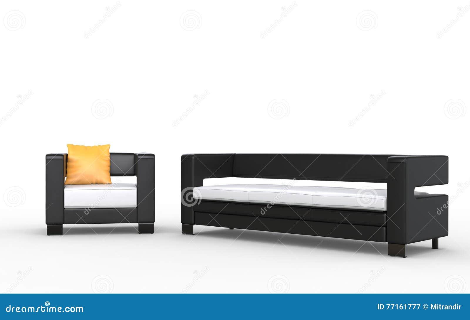 Sofa et fauteuil noirs et blancs modernes avec le coussin jaune