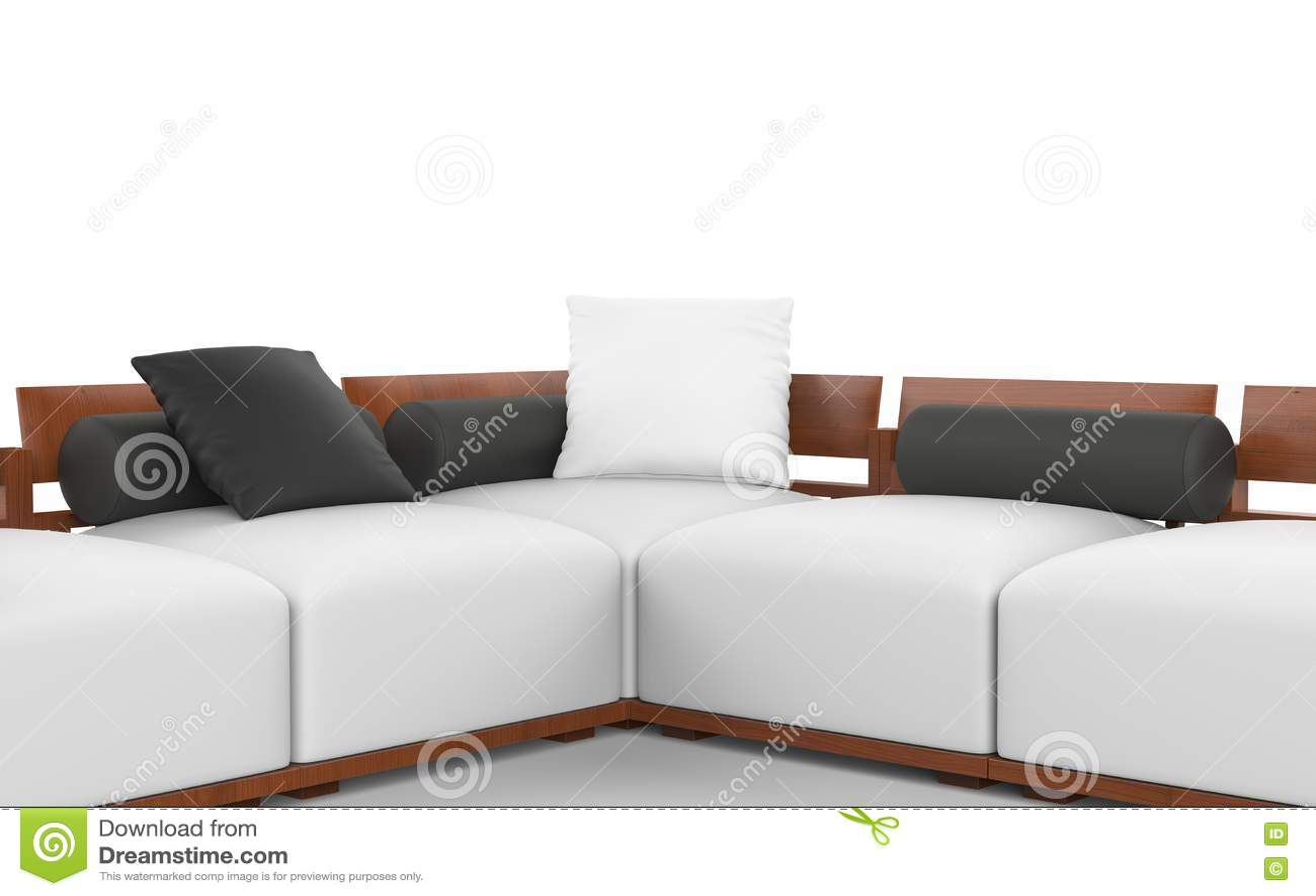 Sofa faisant le coin avec les appuis-tête en bois, les sièges blancs et les oreillers noirs