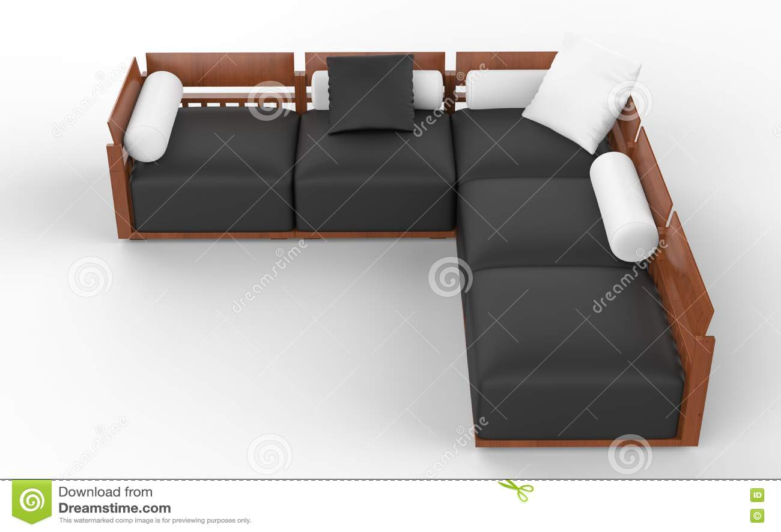 Sofa faisant le coin avec les appuis-tête en bois, les sièges noirs et les oreillers blancs