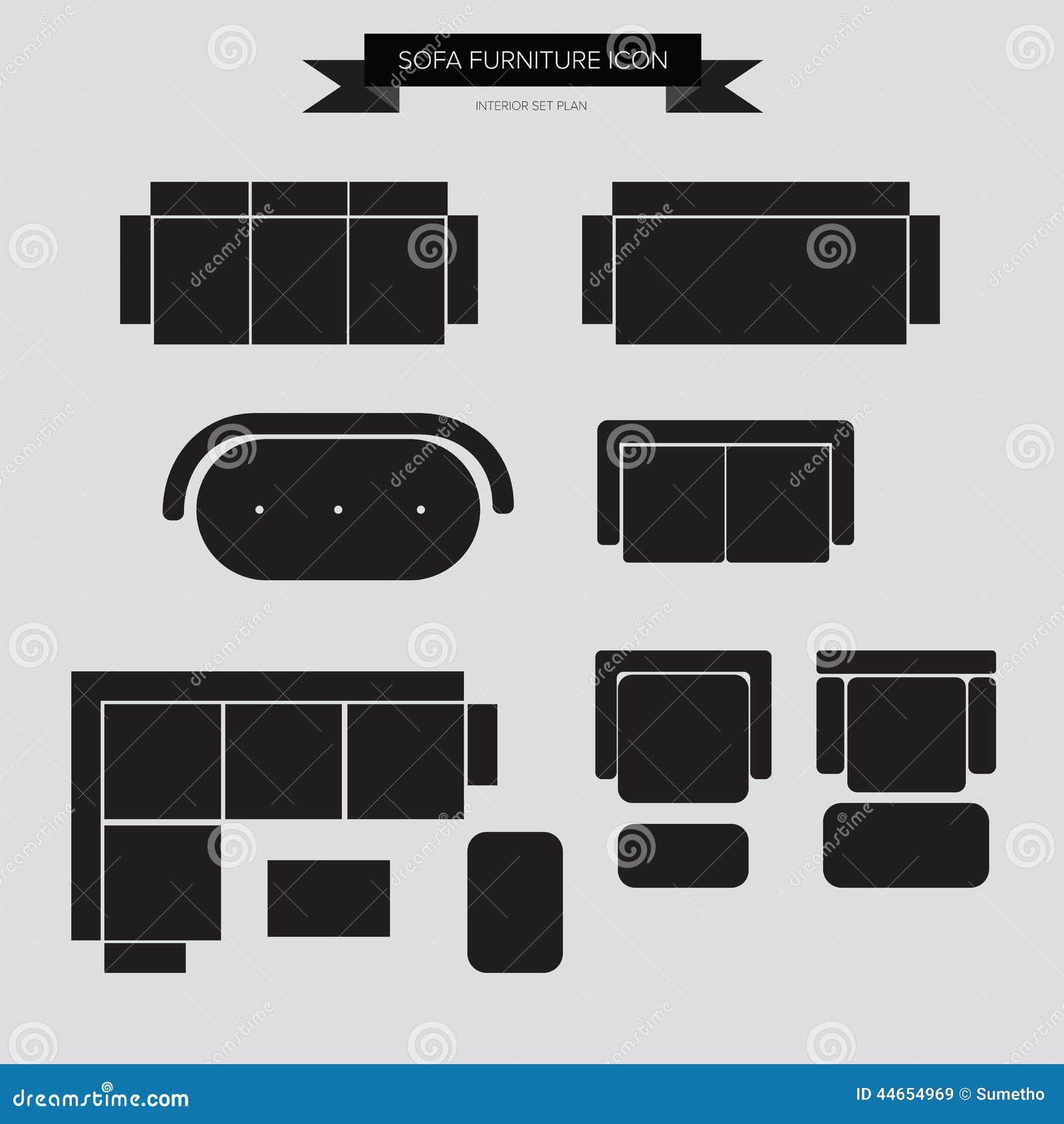 Sofa Furniture Icon Ilustração do Vetor - Imagem: 44654969