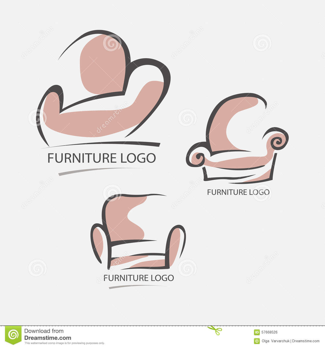 pic stock vector sofa furniture logo for your business element design vector set.