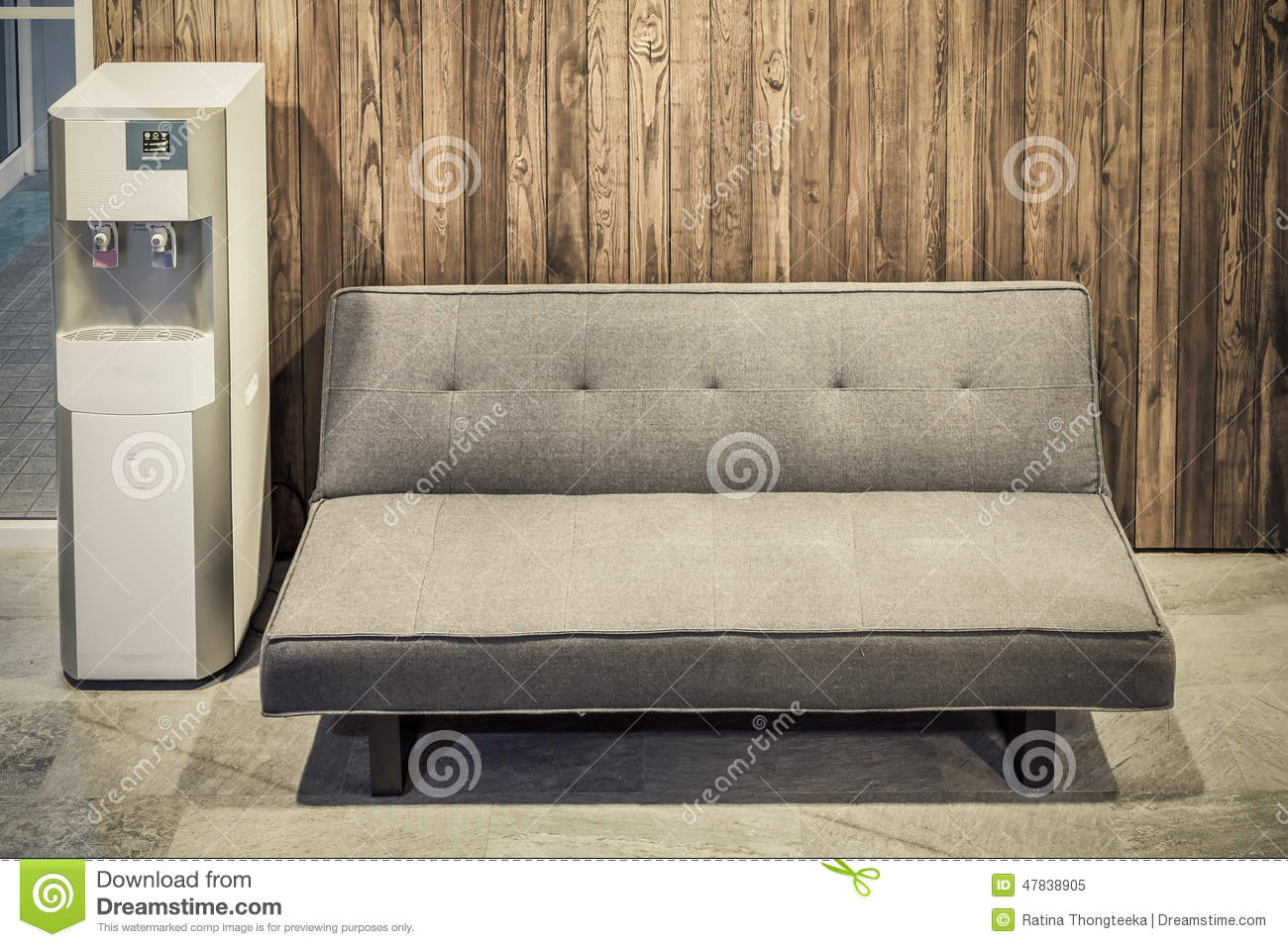 Sofa furniture and water cooler on wood texture stock for Coole couch