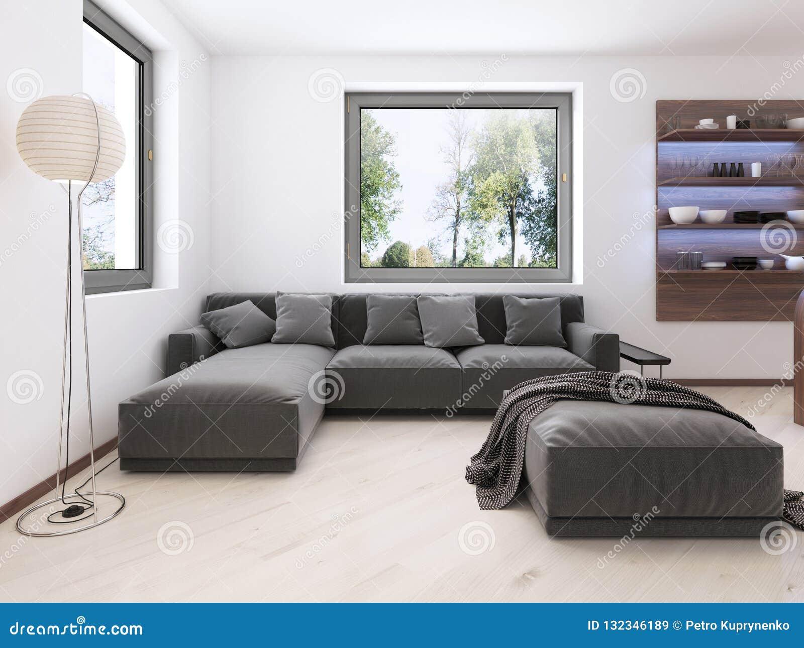 Sofa Gris Moderne Dans Le Salon De Style Contemporain ...