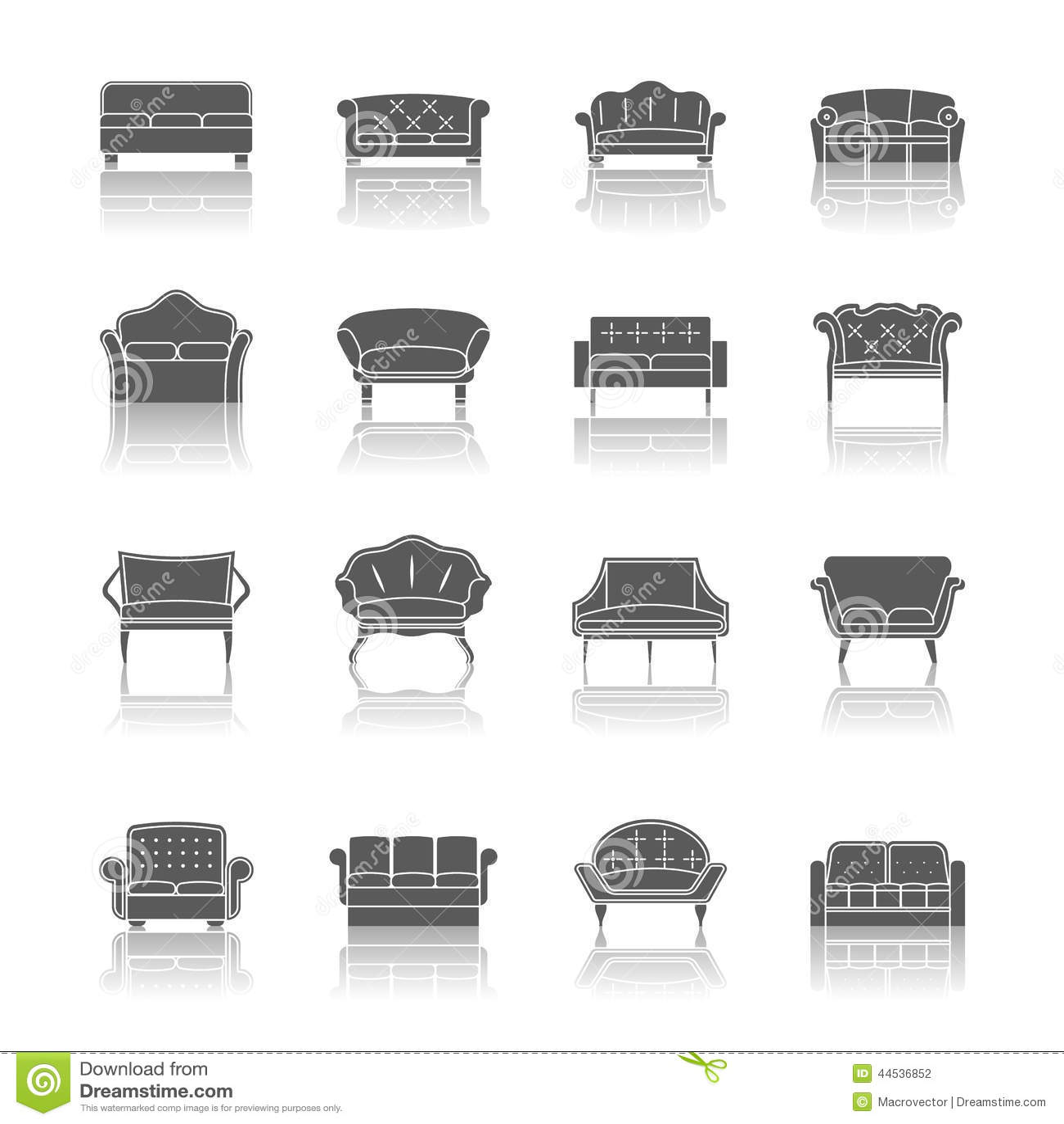 Black Design Furniture Icons Illustration Interior