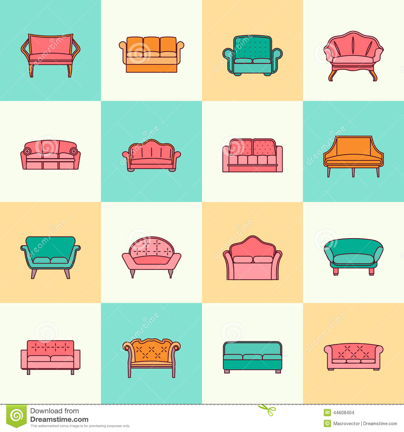 Modern Furniture Icon sofa icon flat line stock vector - image: 44608404