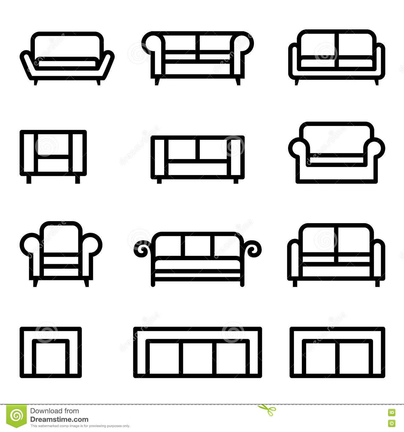 Sofa Icon Set Stock Illustration Illustration Of Furniture 72474601