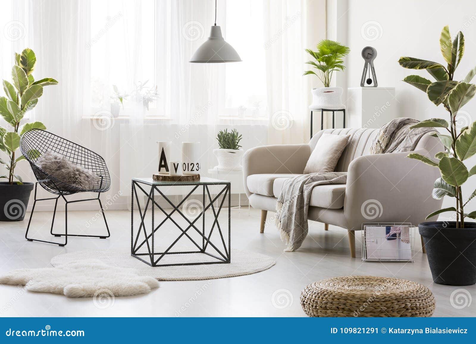 Sofa Im Hellen Wohnzimmer Stockbild Bild Von Hell Puff 109821291