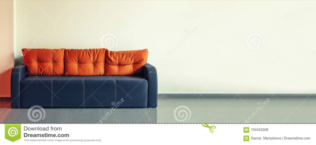 Sofa, Interior Design, Office. Empty Waiting Room With A Modern Blue Sofa  With