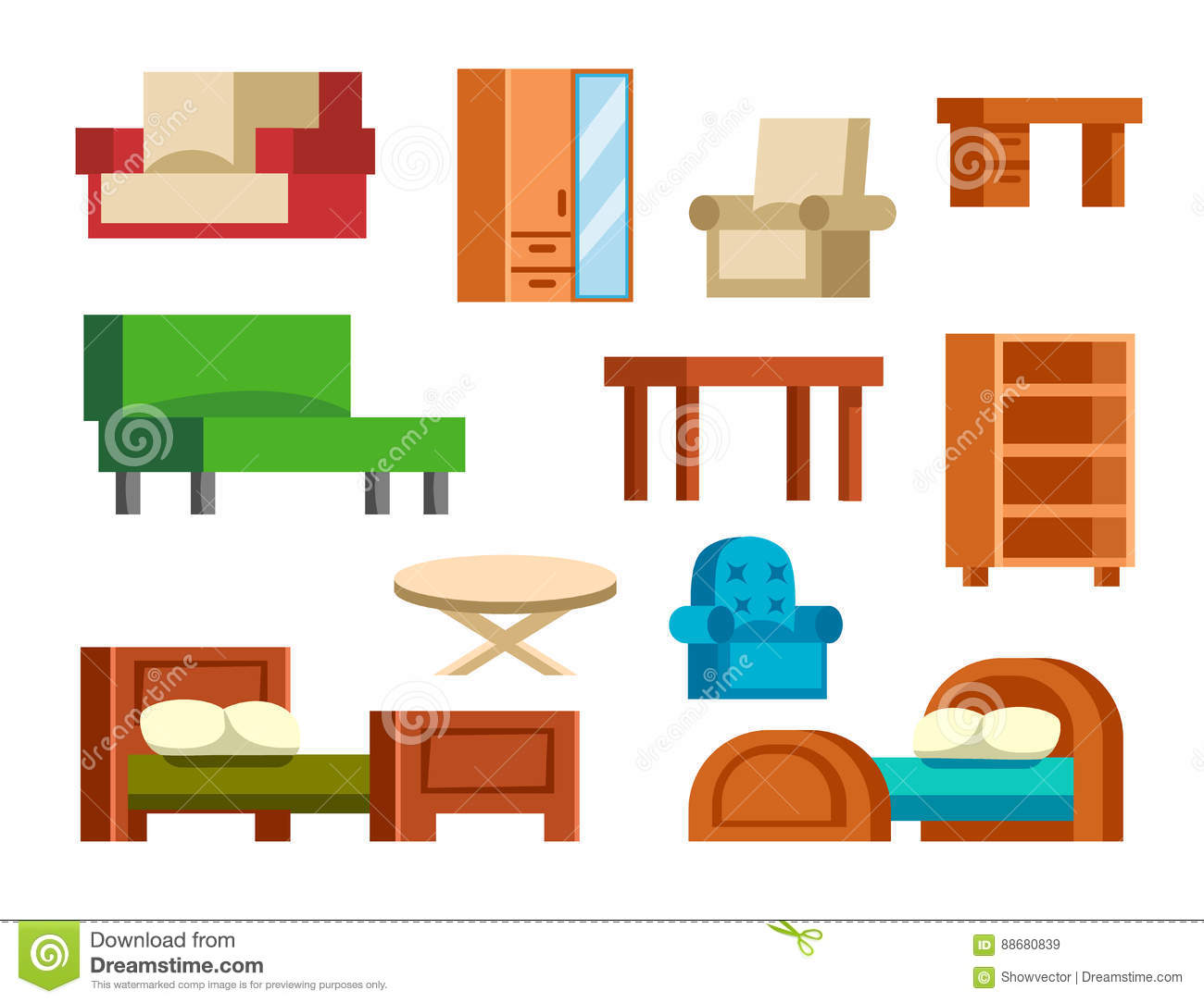 Comfortable Sofa Isolated Icon Cartoon Vector
