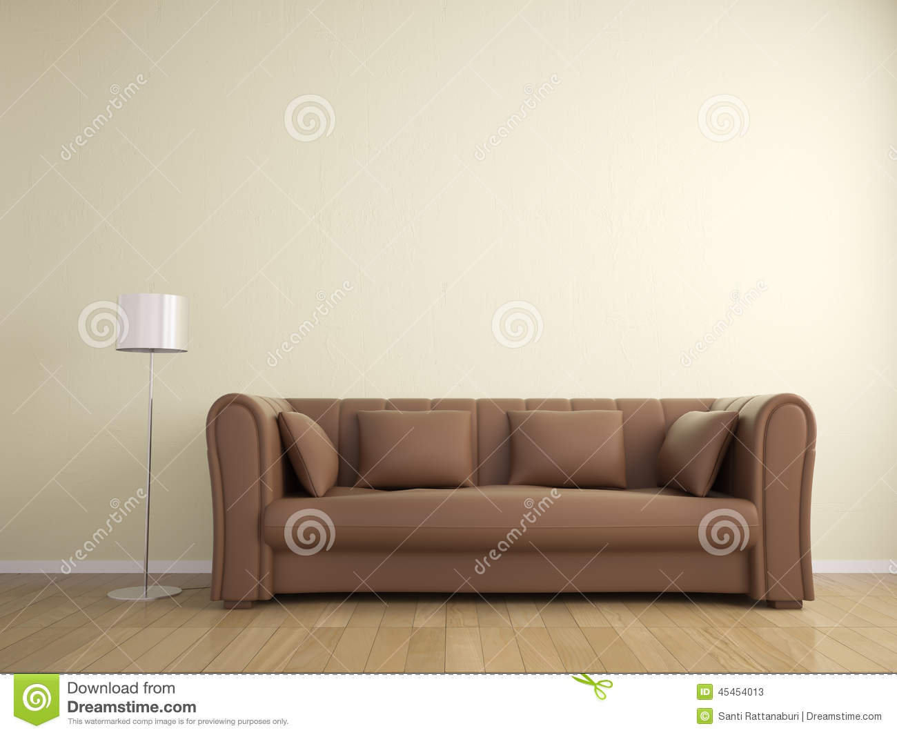 Stock photos: sofa and lamp wall beige color, interior. image ...