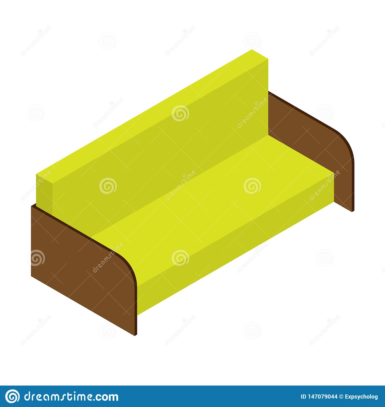 Sofa of lemon color. Isometric vector illustration, web, decor, print, application on white background.