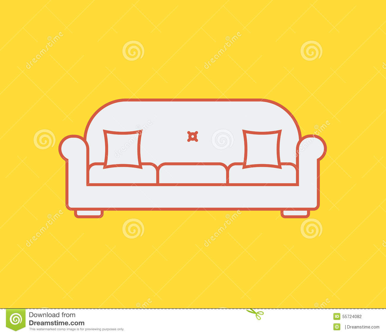 Vector Of Living Room Stock Vector Image Of Sofa: Sofa Line Icon Stock Vector. Image Of Illustration