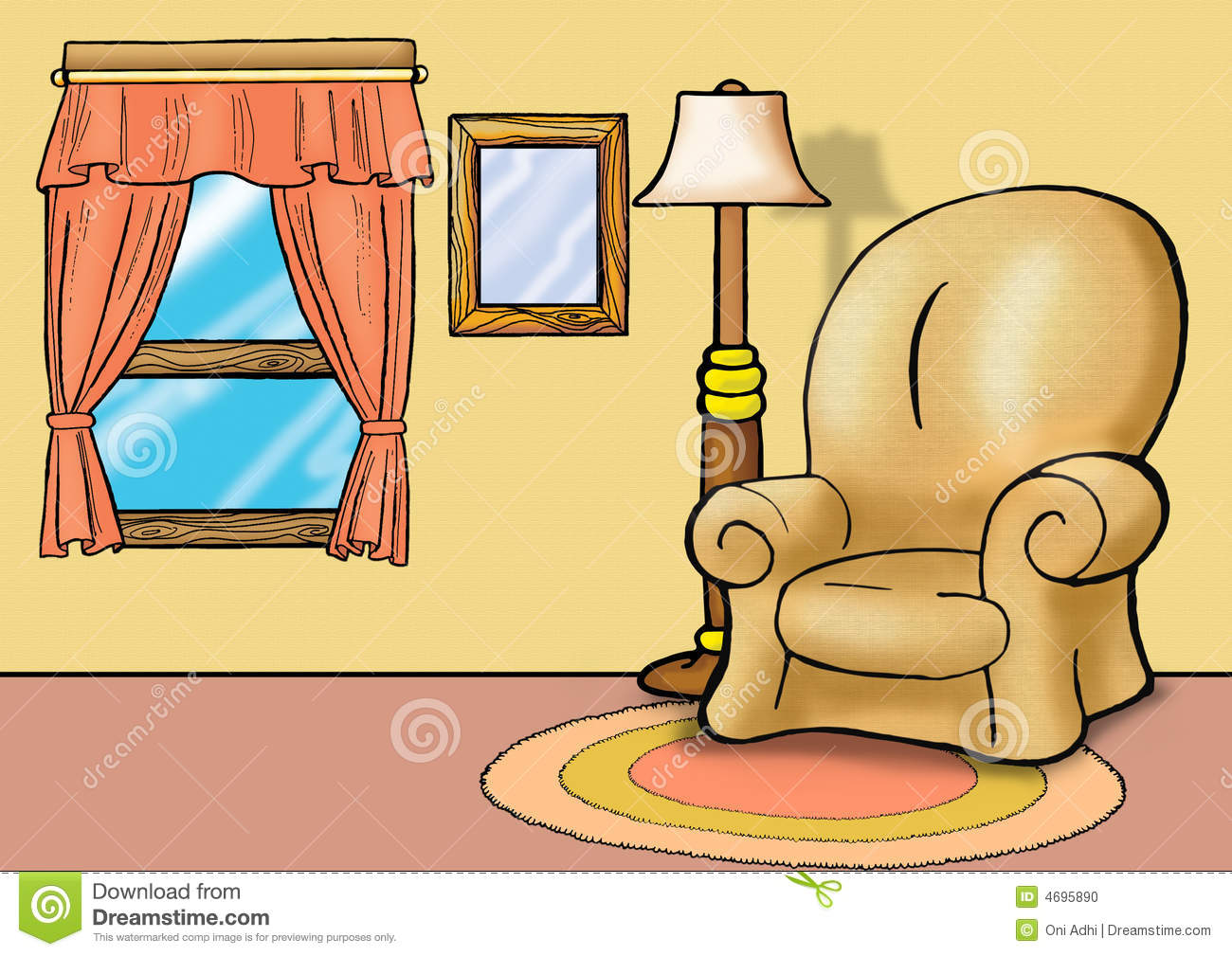 Sofa in living room stock illustration image of house for Sala de estar animada